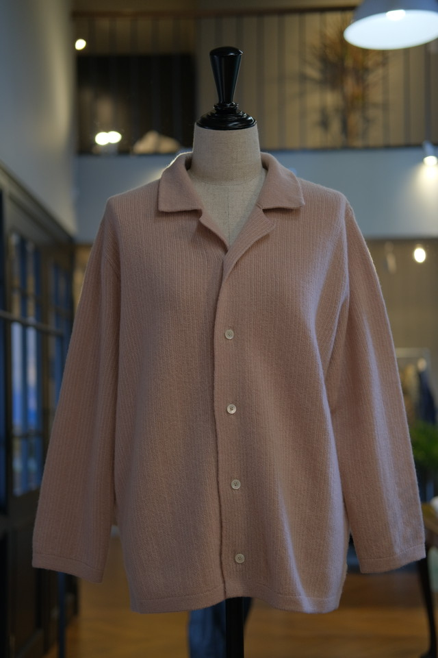 【COOHEM】cashmere stripe knit shirt-beige