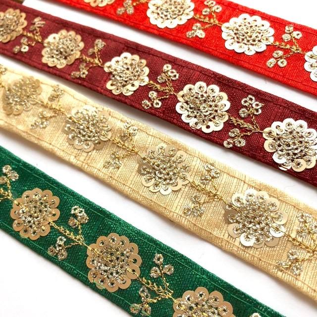Gスパンコールインド刺繍リボン(4色)