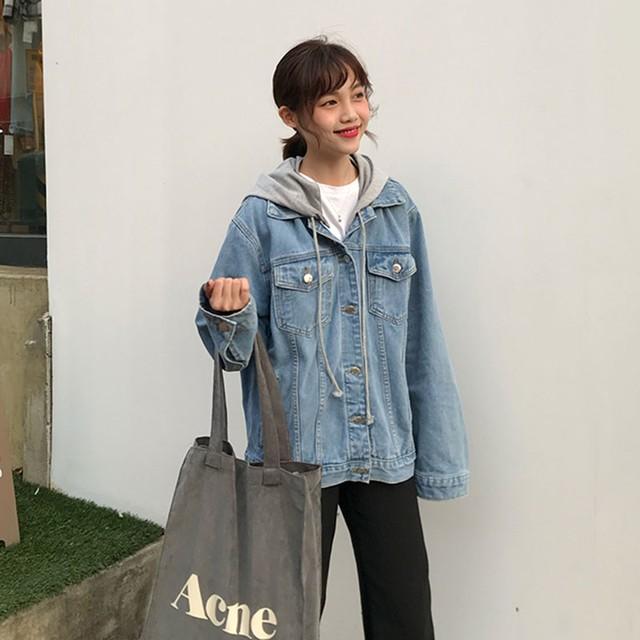 【outer】韓国風ルーズフード付きフェイクレイヤードデニムジャケット
