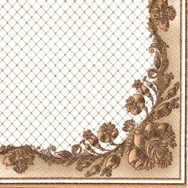 【Maki】バラ売り2枚 ランチサイズ ペーパーナプキン Golden Frame and Net ホワイト×パールゴールド
