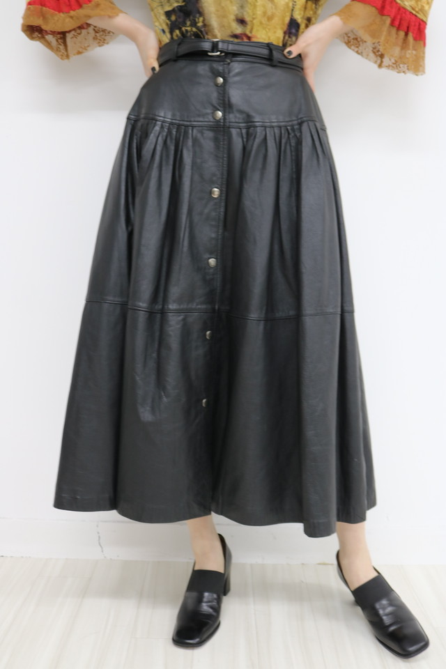 leather flare skirt / SK11110006