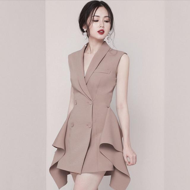 【dress】デートワンピースラウンドネック短袖切り替え配色着やせ不規則