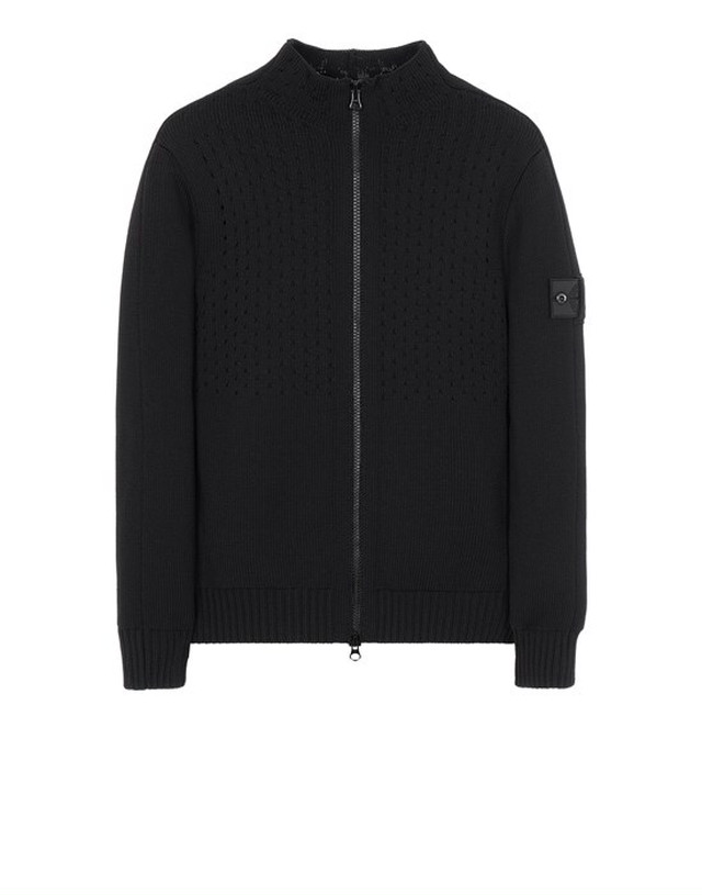 STONE ISLAND SHADOW PROJECT 511A2 HEAVY MESH TRACK KNIT JACKET BLACK