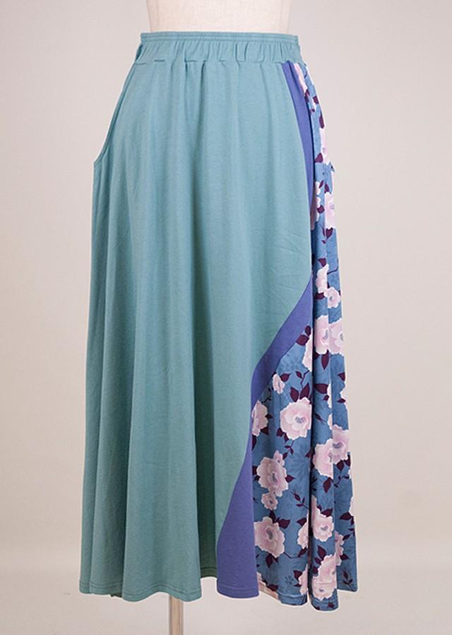 gouk 和柄と配色生地を切り替えたカットソーのスカート 緑青 GGD27-S079 BL/M
