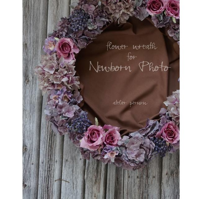 【ニューボーンフォト用リース】ピンクローズと薄紫アジサイ