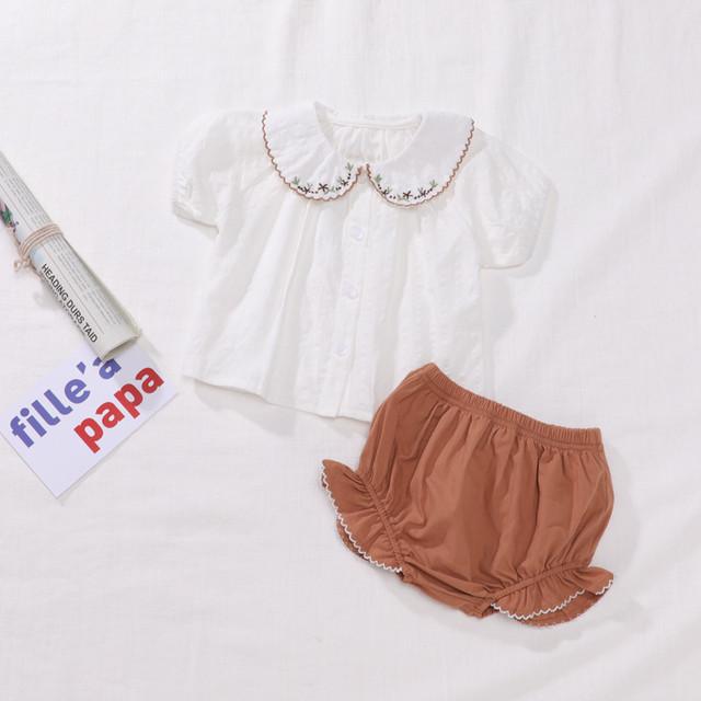 【夏物予約】襟刺繍ブラウス+カボチャパンツ上下セット