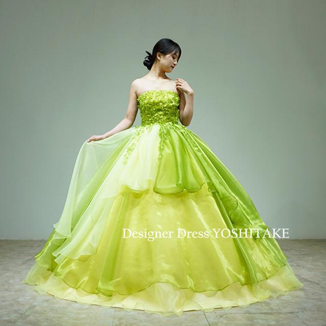 グリーンオーガンジードレス(パニエ付)ウエディング披露宴/前撮り/演奏会ドレス