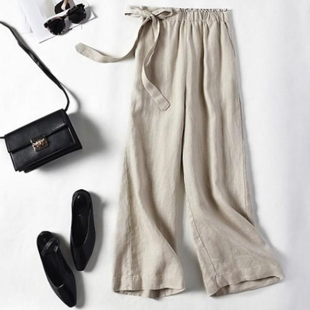 全7色 リネン ワイドパンツ ロングパンツ ゆったり 夏 春物 麻 ゆったり 無地 シンプル カジュアル 九分丈 ファッション