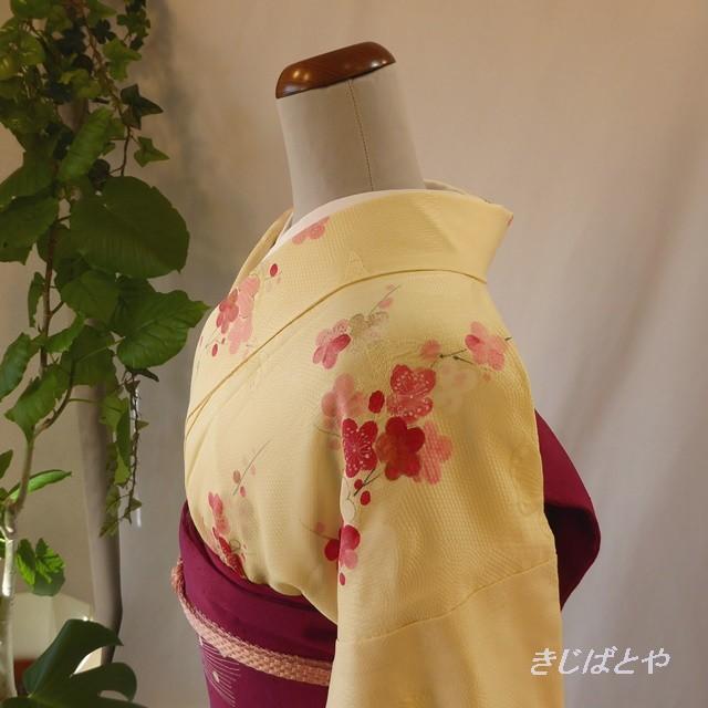 正絹 クリーム色に梅の小紋 袷