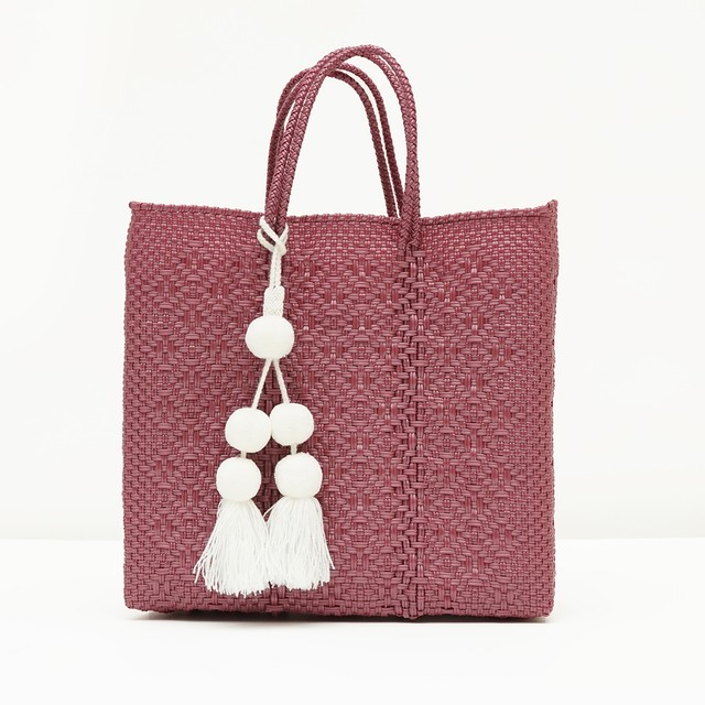 MERCADO BAG ROMBO with POMPON - METALIC PINK (M) with 3COLORS