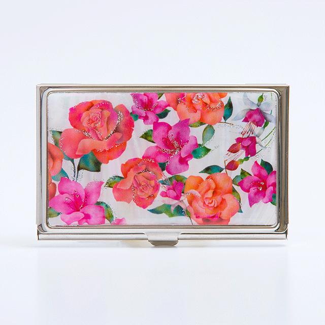【SALE】天然貝 名刺カードケース(バラ・フクシア・ツツジ ~愛の花言葉~)<螺鈿アート>