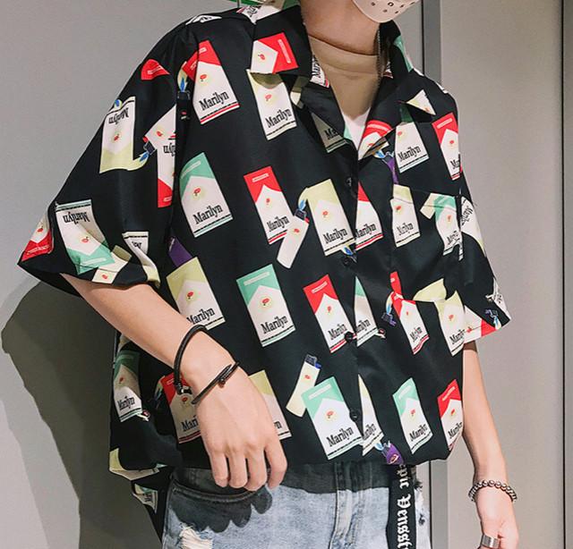 【大人気】シガレットデザインシャツ 2カラー