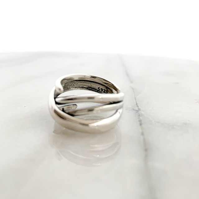 Silver925 Cross line wide ring
