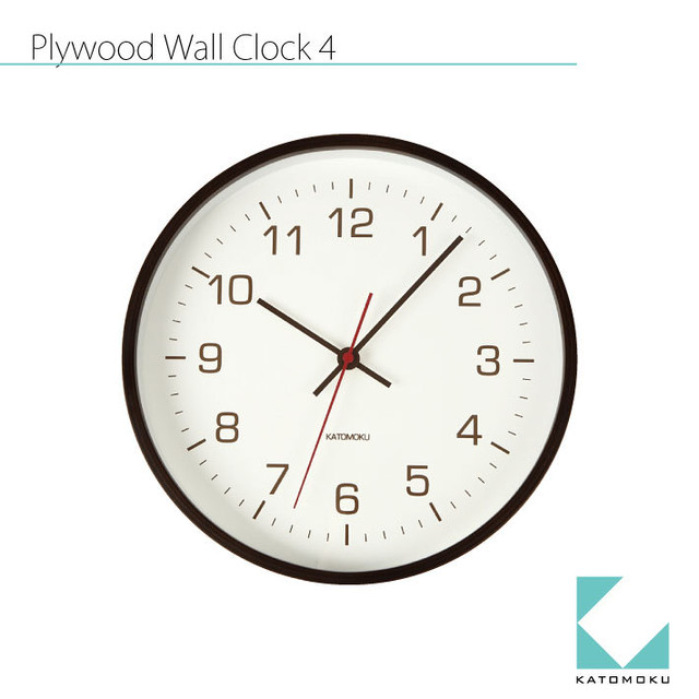 KATOMOKU plywood wall clock 4 km-44BRC 電波時計