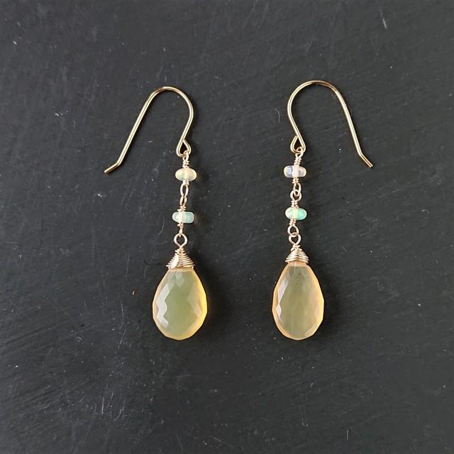 yellow opal pierce / earring 017