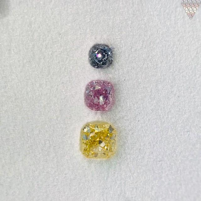合計  0.61 ct 天然 カラー ダイヤモンド 3 ピース GIA  2 点 付 マルチスタイル / カラー FANCY DIAMOND 【DEF GIA MULTI】