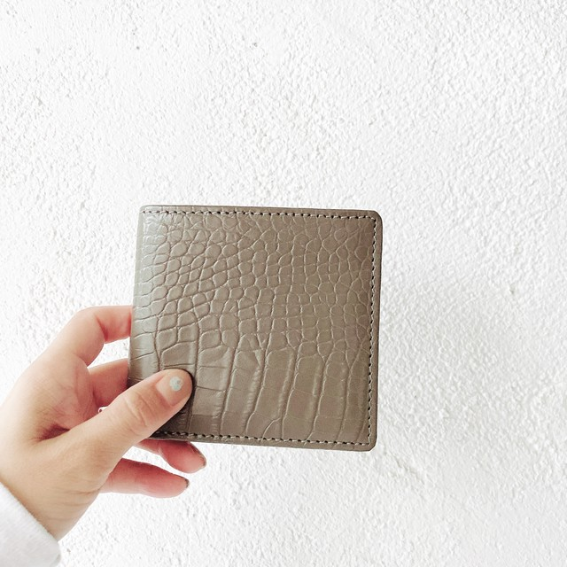 Leather small wallet : gray