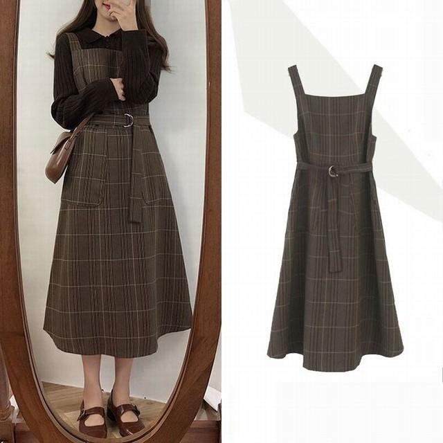 ジャンパースカート ノースリーブ チェック柄 ワンピース ストラップ ウエストマーク 韓国ファッション レディース レディースファッション / Plaid waist word dress loose strap skirt (DTC-579917814682)