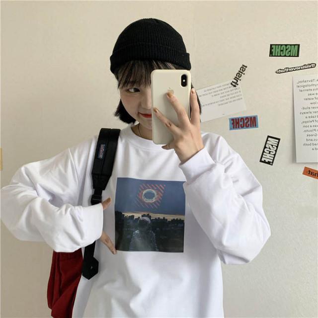 【送料無料】おしゃれプリント ♡ カジュアル 大人可愛い オーバーサイズ  プルオーバー トップス