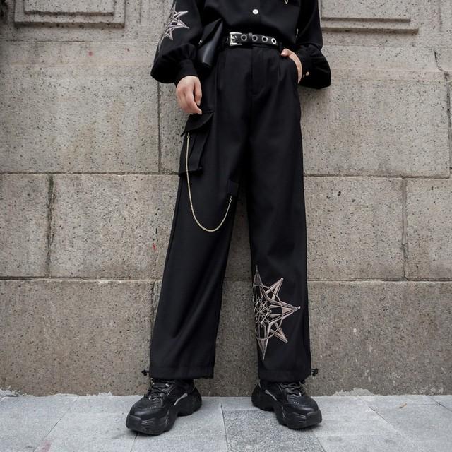 【森女部落シリーズ】★カジュアルパンツ★ ズボン ボトムス 刺繍 星 オリジナル かっこいい 黒い ブラック