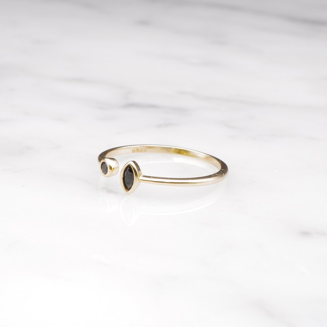 【予約販売】S925 DOUBLE MINI ZIRCONIA OPEN RING GOLD 2