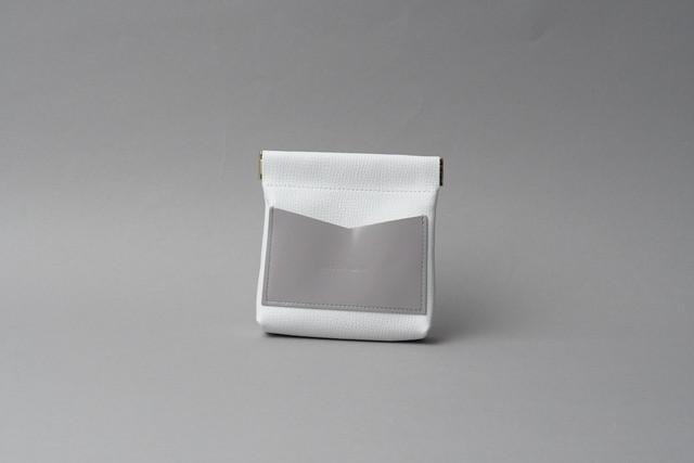 送料無料・ギフトラッピング(ギフト箱)無料○ ワンタッチ・コインケース ■ホワイト・ラベンダー■ - メイン画像