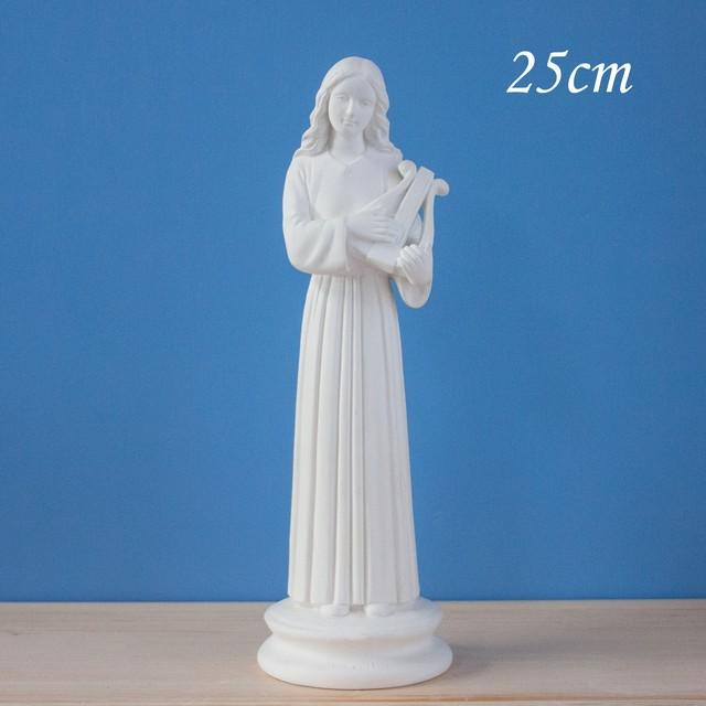聖セシリア像【25cm】室内用白色仕上げ ※受注後約2週間で発送
