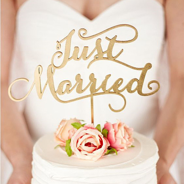 T-4 ケーキトッパー《Just Married》 木製