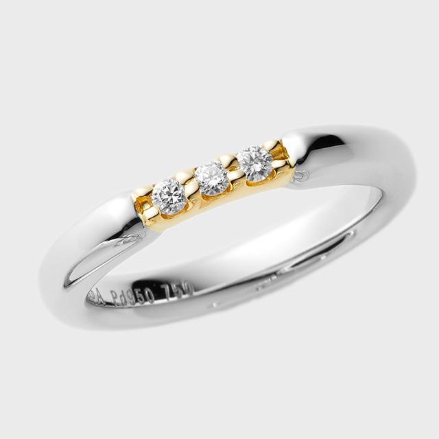 PORTADA BABY RING PUENTE(ダイヤあり)K18YG×Pd950(ポルターダベビーリング プエンテ K18イエローゴールド×パラジウム950)