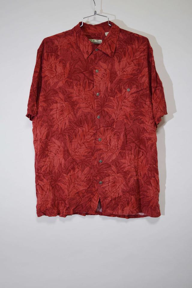 【Lサイズ】 BATIC BAY バティックベイ BUTTON SHIRT  半袖ボタンシャツ RED 400602190805