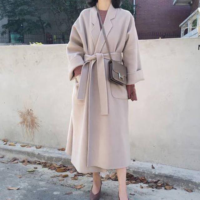 【outer】無地九分袖ファッションすね丈秋冬スリット折り襟合わせやすいコート