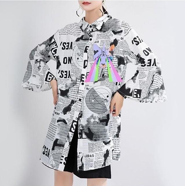ロングシャツ Tシャツ アシンメトリー チュニック リバーシブル 個性派 モード系 ヴィジュアル系 1301