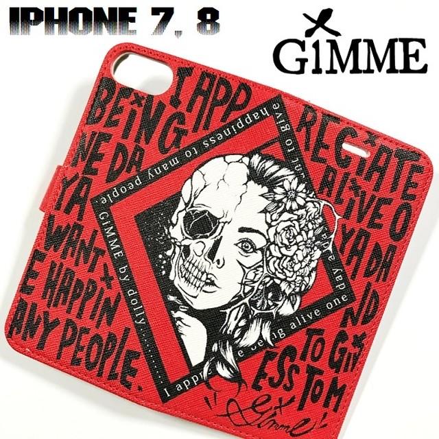 GiMME / ギミー「iPhone CASE TYPE-G」手帳型 アイフォンケース カバー スマホケース スマートフォン iPhone7 iPhone8 携帯 赤黒白 レッド ブラック ホワイト スカル ドクロ メンズ レディース ロック パンク バンド ROCK PUNK ギフトラッピング無料 人気 売れ筋 Rogia