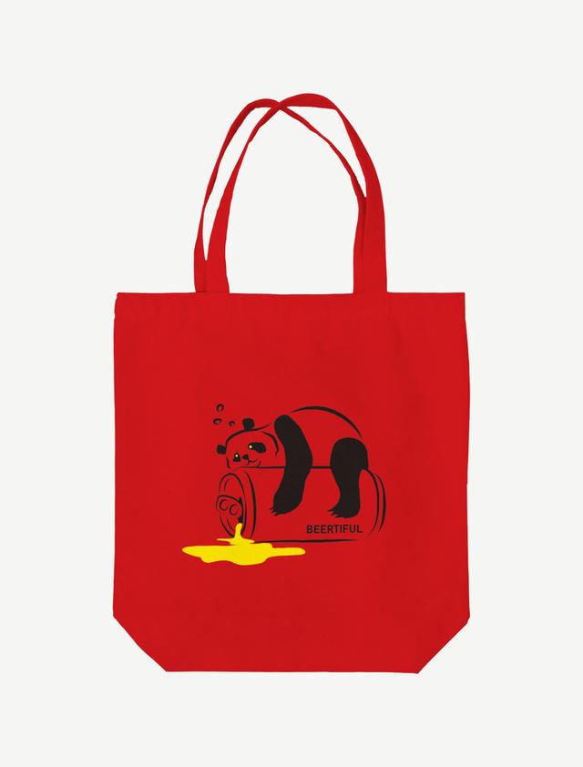 【ほろ酔いパンダ】トートバッグ(レッド)