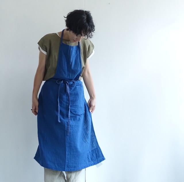 藍染手縫いエプロン ダブルガーゼ R-10 / 市川りえ