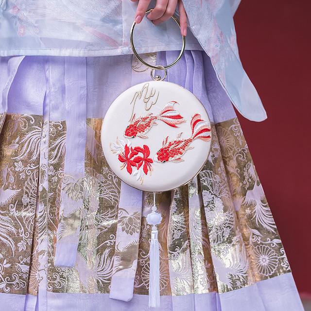 チャイナ風バッグ 手作り パーティー 結婚式 手持ちショルダー クラッチバッグ チェーン 唐装バッグ 漢服バッグ ベージュ レッド 金魚模様