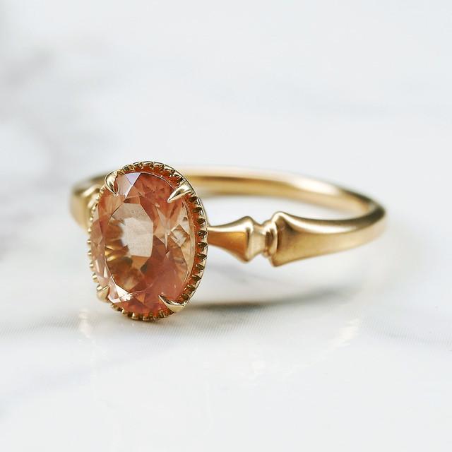 Oregon sunstone ring / K18YG