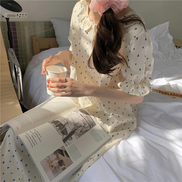 Petit heart dress sleepwear(blue)