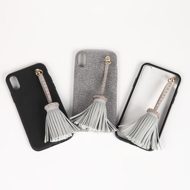 【即納★送料無料】選べる3カラー フリンジタッセルチャーム付 iPhoneケース