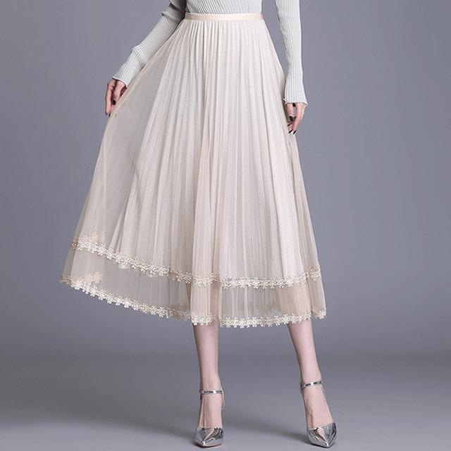 裾切り替えレーススカート*2color 100482