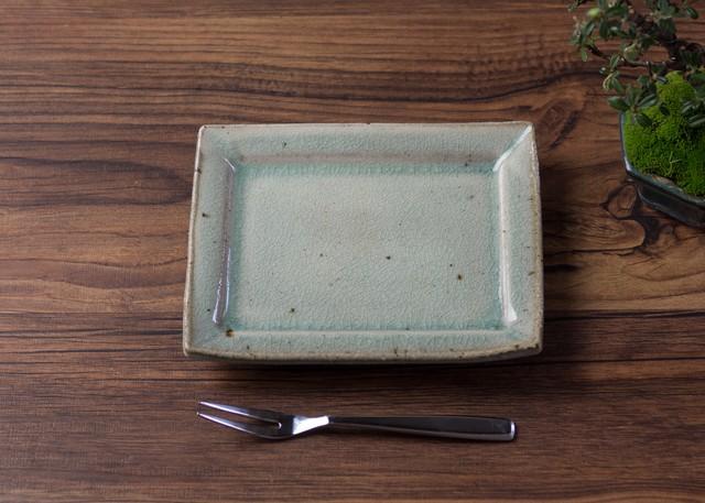 灰釉 粉引 角小皿 3/くるり窯