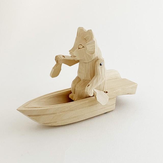 ボゴロツコエ木地玩具「ボートを漕ぐクマ」
