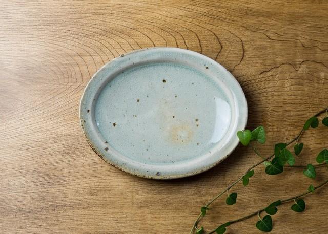 灰釉粉引 オーバル中皿 1/くるり窯