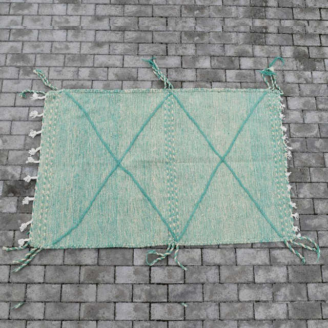 """モロッコラグ・ザナフィ/ """"153cm×100cm"""" グリーン"""