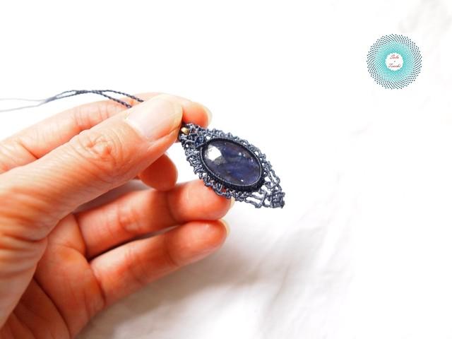 アマゾナイト オーバル型 マクラメ編みペンダント