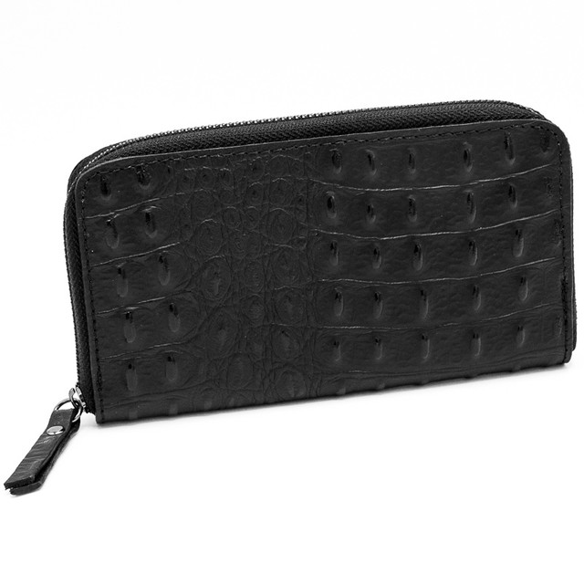 長財布 本革 メンズ レディース イタリア製 黒 クロコダイル型押し 商品番号 p517