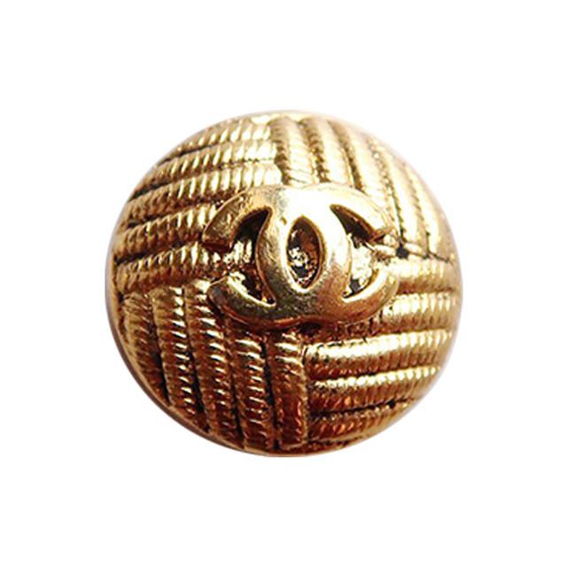 【VINTAGE CHANEL BUTTON】アンティーク ゴールド 織り柄 ボタン (大)