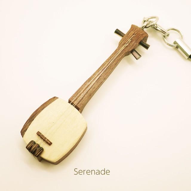 三味線 木製和楽器ストラップ