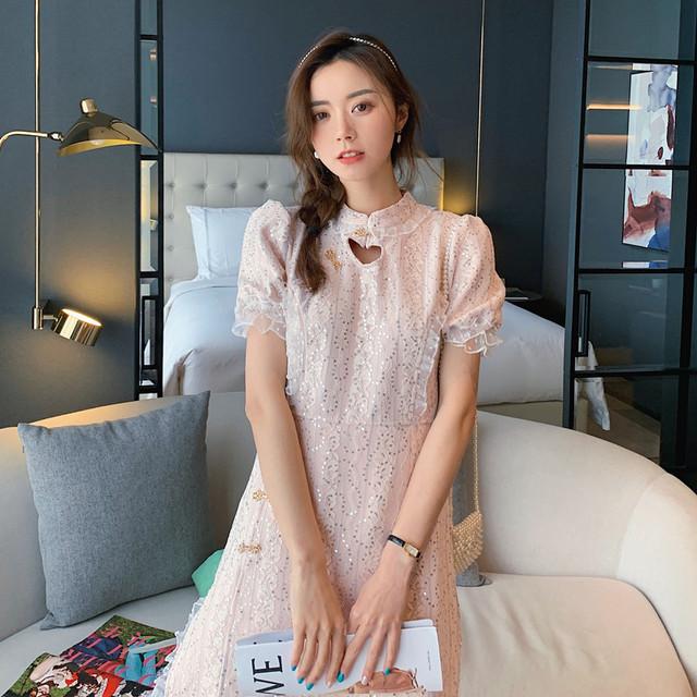 【SNTシリーズ】★改良型チャイナドレス★ チャイナ風ワンピース キラキラ ピンク 超可愛い ピンク
