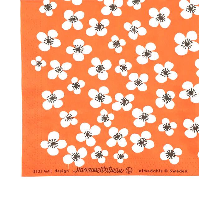 北欧【Almedahls】バラ売り1枚 ランチサイズ ペーパーナプキン BELLE AMIE オレンジ